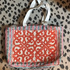 NWOT Beaded Embroidered Shopper Tote